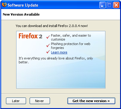Firefox 1.5 to 2.0