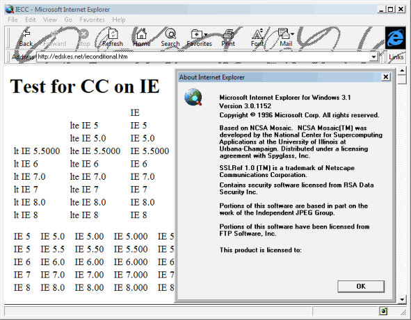 Internet Explorer 3 (IE 3) Screenshots