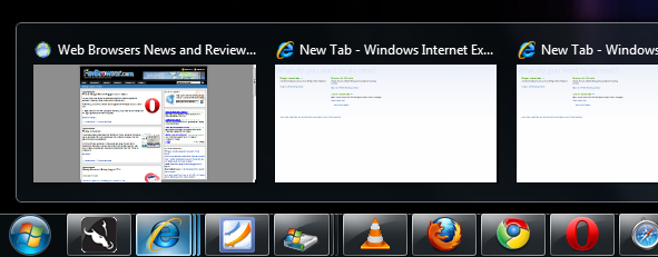 Internet Explorer, Safari: Windows 7 Tabs