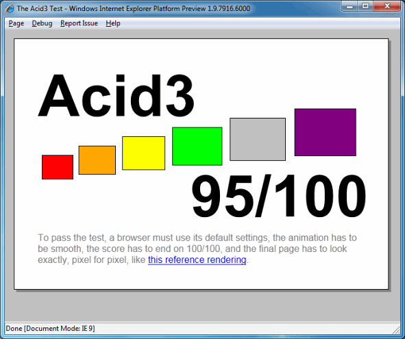 IE9 Platform Preview 4 Beats Safari 5, Acid3 95/100