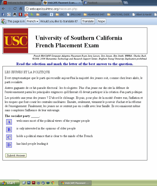 French Exam? Use Google Chrome (Pic)