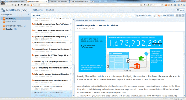 Maxthon 3.2 RSS Reader