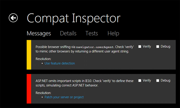 New For Internet Explorer 10: Compat Inspector